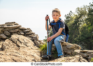 A boy traveler with trekking poles and a backpack rests on top of a mountain among green forest.