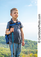 A boy traveler with trekking poles and a backpack stands on top of a mountain among green forest.