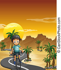 A boy travelling with his bike