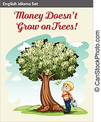 A boy under the money tree