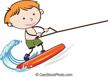 A Boy Wakeboarding on White Background