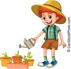 A Boy Watering the Plants