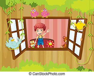 A boy waving at the window with birds - Illustration of a ...