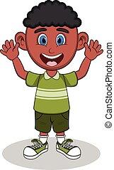 A boy waving his hand cartoon