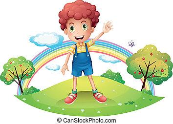 A boy waving his hand - Illustration of a boy waving his...