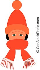 A boy wearing an orange winter cap and scarf looks handsome vector or color illustration