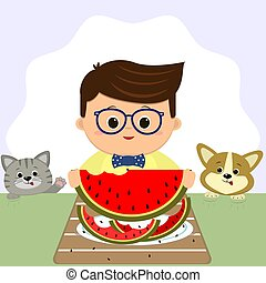 A boy wearing glasses and a bow tie is sitting at a table and eating a watermelon. On a plate of watermelon peel, a cat and a dog next.