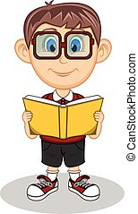 A boy wearing glasses reading book
