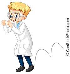 A boy wearing laboratory coat cartoon character