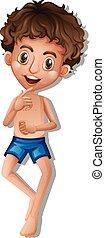 A boy wearing swimming shorts