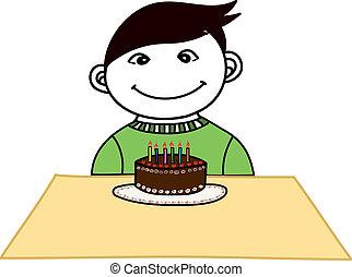 A boy with a birth day cake