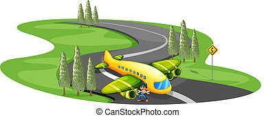 A boy with a plane landing at the long winding road