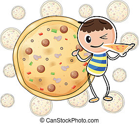 A boy with a slice of pizza