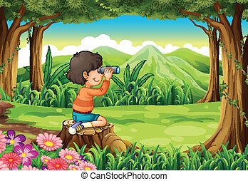 A boy with a telescope sitting above the stump at the forest