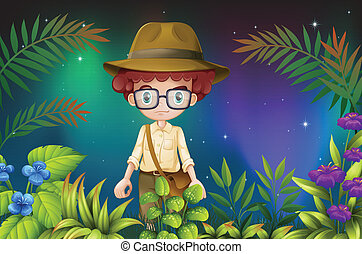 A boy with an eyeglass and a hat