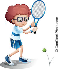 Illustration of a boy with an eyeglass playing tennis on a white background