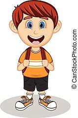 A boy with backpack cartoon