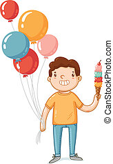 A boy with balloons and ice cream vector illustration