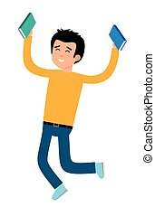 A boy with books in his hands joyously jumping.