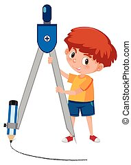 A boy with compasses