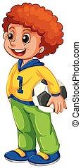 A boy with football