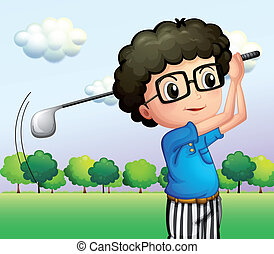 A boy with glasses playing golf