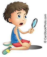 A boy with magnifying glass
