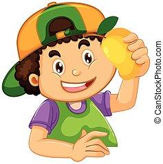 A boy with mango