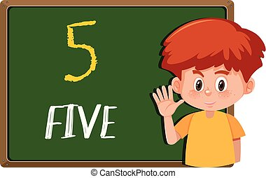 A boy with number hand gesture