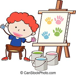 A Boy with Paining Board
