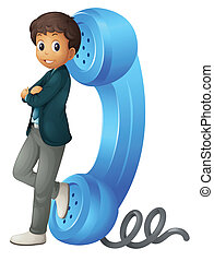 illustration of a boy with phone receiver on a white