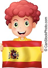 A Boy with Spanish Flag