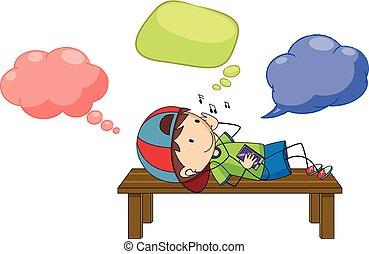A boy with speech balloon