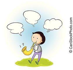 A boy with speech bubble