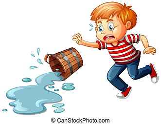 A boy with spilled water isolated on white background