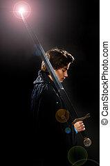 a boy with sword