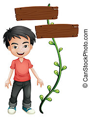 A boy with wooden signboards - Illustration of a boy with...