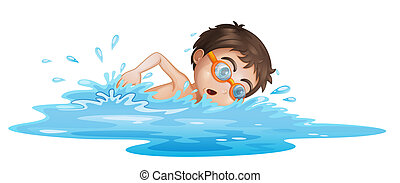 Illustration of a boy with yellow goggles on a white background