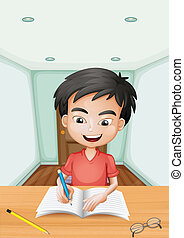 A boy writing a letter