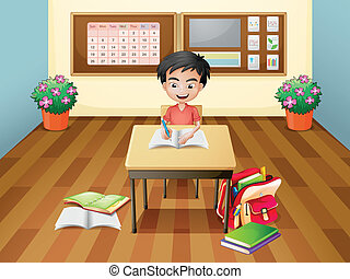 A boy writing at the table - Illustration of a boy writing...