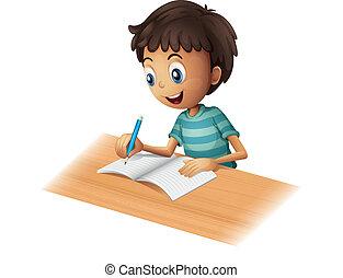 A boy writing - Illustration of a boy writing on a white...