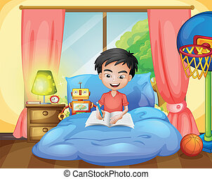 A boy writing on his bed - Illustration of a boy writing on...