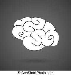 a brain white icon on a dark background