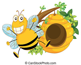 A branch of a tree with a beehive and a bee