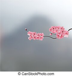 A branch of cherry blossoms against a background of mountains. Landscape. illustration