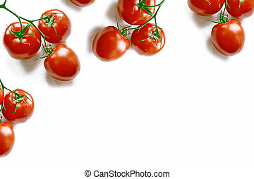 A branch of red ripe cherry tomatoes on a white background.
