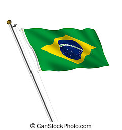 A Brasil Brazil Flagpole Verde e amarela illustration on white with clipping path