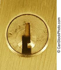 Brass lock keyhole macro
