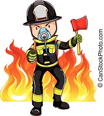 A brave fireman on a white background
