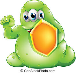 A brave greenslime monster holding a shield